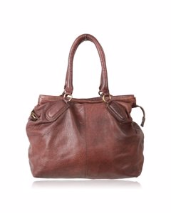 Liebeskind Berlin Double Dyed Brown Leather Satchel Bag Mod. Addison