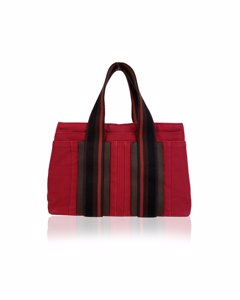 Hermes Red Canvas Handbag Mod: Troca PM