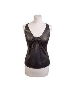 Christian Dior Silver Tone Metallic Sleeveless Tank Top Size 40
