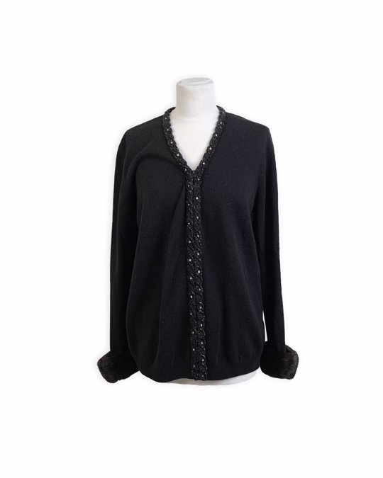 Other Anna Molinari Blumarine Embellished Black Cardigan Fur Trim Size 46