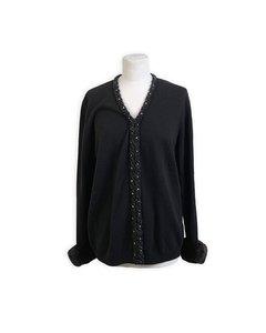 Anna Molinari Blumarine Embellished Black Cardigan Fur Trim Size 46