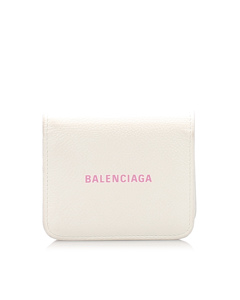 Balenciaga Leather Bifold Wallet White