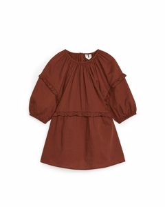 Voluminous Frill Dress Terracotta