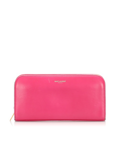 Ysl Continental Leather Long Wallet Pink