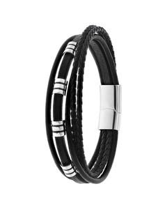 Armband, Edelstahl, Kettenglied, schwarzes Leder