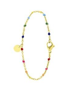 Armband, Edelstahl, vergoldet, Gravurscheibe, Regenbogen, Emaille