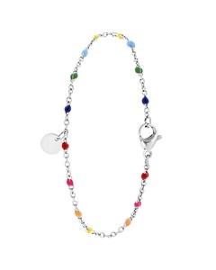 Armband, Edelstahl, Gravurscheibe, Regenbogen, Emaille