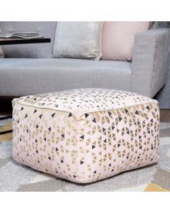 Platinum Charocoal And Gold Foil Handwoven Geometric Printed Pouf