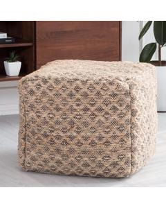 Joey Grey And Natural Geometric Handwoven Pouf