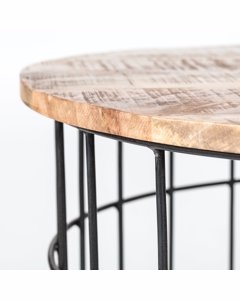 Auxon Cage - Iron & Mango Wood - Coffee Table - Black & Natural Wood