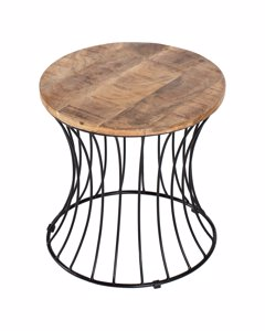 Eva - Iron & Mango Wood - Side Table - Black & Natural Wood