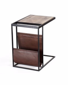 Avignon - Iron & Leather - Side Table - Black & Brown