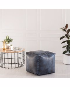 Harper Leather - Indoor Pouf- Indigo