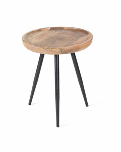 Chevery Tri Pin - Iron & Mango Wood - Side Table - Black & Natural Wood