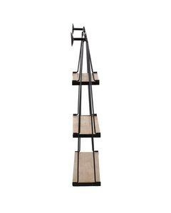 Luna 3 Tier - Floating Decorative Wall Shelf - Black & Natural Wood