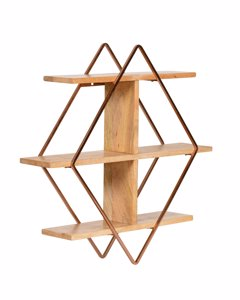 Tignes - Iron & Wood - Floating Decorative Wall Shelf - Rose Gold