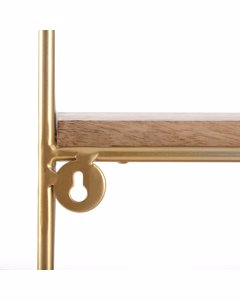 Lugo 2 Tier - Floating Decorative Wall Shelf - Gold & Natural Wood