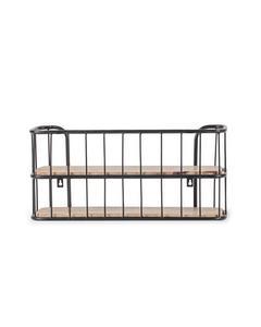 Venables  2 Tier - Iron & Mango Wood - Floating Decorative Wall Shelf  - Black