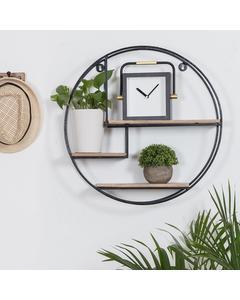 Marly - Iron & Wood - Floating Decorative Round Wall Shelf - Bronze