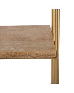 Cadiz - Floating Decorative Wall Shelf - Gold & Natural Wood
