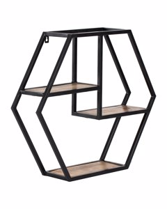 Halliday - Black & Natural - Iron & Wood - Floating Decorative Wall Shelf