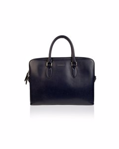 Burberry Blue Leather Briefcase Satchel With Shoulder Strap