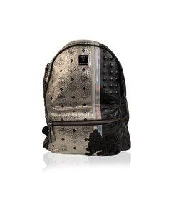 Mcm Munchen Silver Black Visetos Studded Lion Stark Backpack Bag