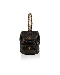 Chanel Vintage Black Quilted Leather Small Backpack Shoulder Bag