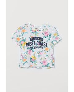 Kastiges T-Shirt Weiß/Geblümt