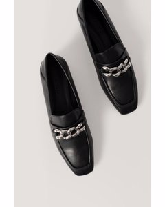 Big Chain Fold In Loafers Black