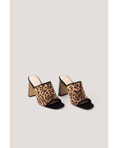 Block Heeled  Mules Leopard