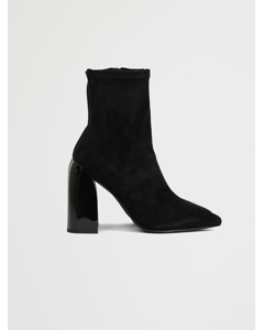 Tight Shaft Block Heel Booties Black