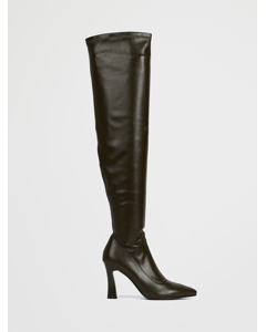Graphic Heel Overknee Boots Dark Green