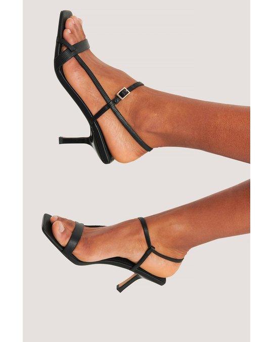 NA-KD Strappy Buckled Heels Black