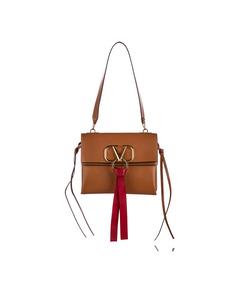 Valentino Vring Leather Shoulder Bag Brown
