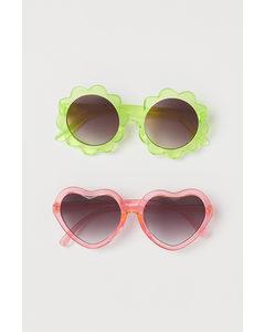2-pack Solglasögon Rosa/ljusgrön