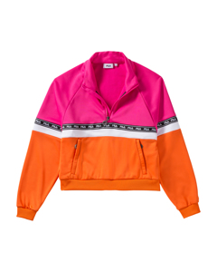 Women Chinami Half Zip Shirt Pink Yarrow-mandarin Orange-bright White