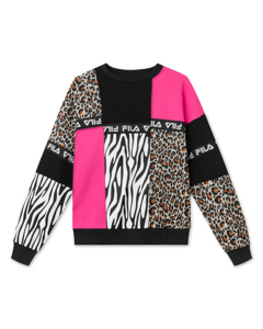 Women Papina Crew Sweat Black-pink Yarrow-allover Leo
