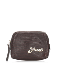 Fendi Leather Coin Pouch Brown