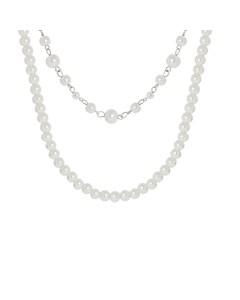 Silberfarbene Byoux-Kette mit mehreren Perlen