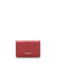 Ysl Leather Small Wallet Red