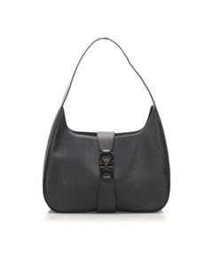 Ferragamo Gancini Leather Shoulder Bag Black