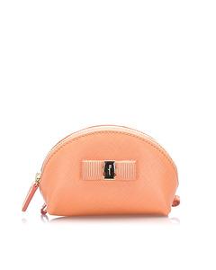 Ferragamo Mini Vara Ribbon Leather Pouch Pink