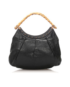 Gucci Bamboo Leather Tote Bag Black