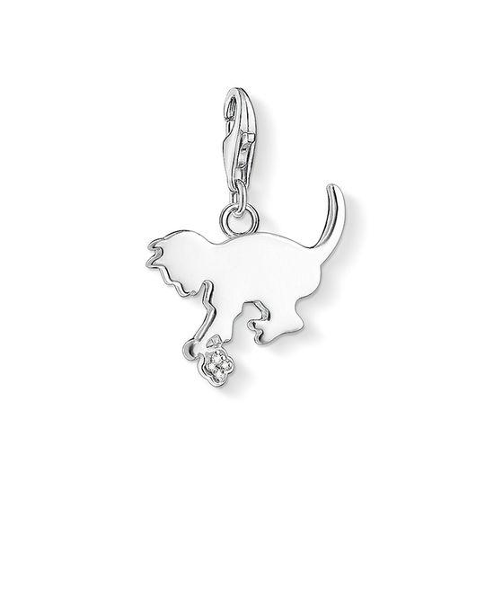 Thomas Sabo Charm Pendant Kitten 925 Sterling Silver, Diamond