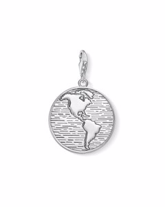 Charm Pendant Disc World 925 Sterling Silver, Blackened