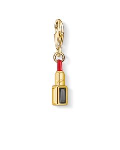 Charm Pendant Red Lipstick 925 Sterling Silver; 18k Yellow Gold Plating