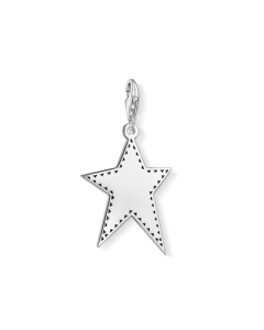 Charm Pendant Silver Star 925 Sterling Silver, Blackened