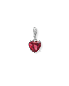 Charm Pendant Heart With Red Stone 925 Sterling Silver