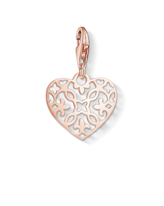 Charm Pendant 'arabesque Heart' 925 Sterling Silver; 18k Rose Gold Plating